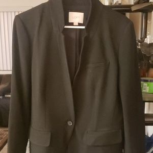 Loft black notch collar blazer size 10